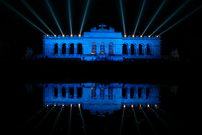 A view of the Gloriette above the Schönbrunn Palace at night, during an open-air concert by the Vienna Philharmonic  Vienna, Austria 2010