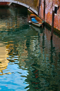 A boat moored in the canal, Venice, Italy 2010