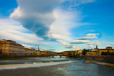 Clouds over the Arno River in Florence, Italy 2010