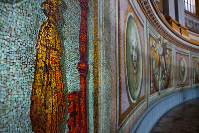 The mosaic walls in the interior walkway around the base of the dome of St. Peter's Basilica, Vatican City, Italy 2010