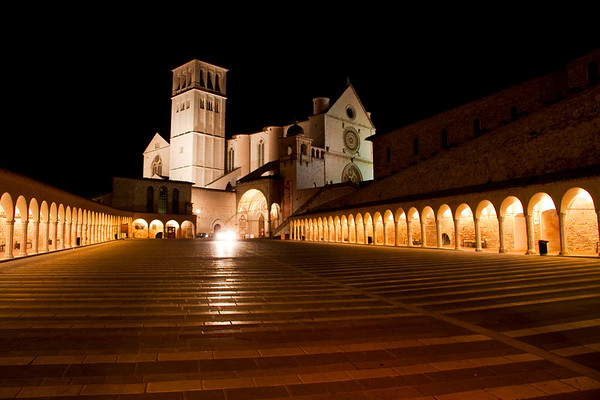 The Basilica di San Francesco (Basilica of St. Francis) at night, Assisi, Italy 2010