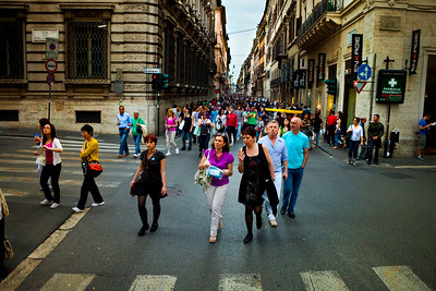 The Via del Corso shopping district in Rome, Italy 2010
