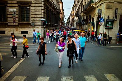 The Via del Corso shopping district in Rome, Italy 2010