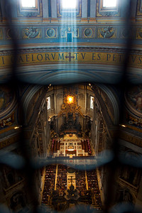 Looking down on a church service from the dome in St. Peter's Basilica, Vatican City, Italy 2010
