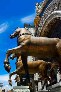 Statues of horses atop the Basilica of St. Mark's, Venice, Italy 2010