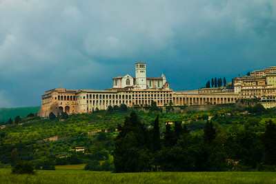 View of Assisi, with the Basilica di San Francesco (Basilica of St. Francis) rising above, Assisi, Italy 2010