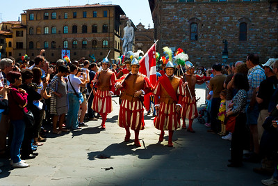 A traditional procession in the Piazza della Signoria in front of the Uffizi Gallery, Florence, Italy 2010