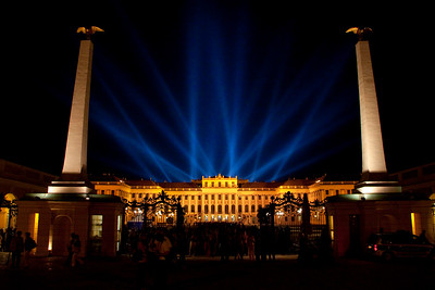 A view of the Schönbrunn Palace at night, after an open-air concert by the Vienna Philharmonic  Vienna, Austria 2010