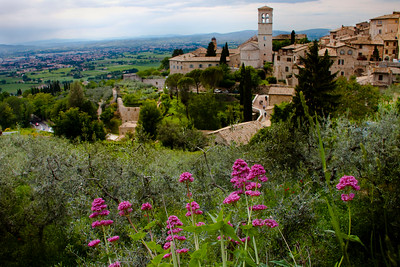View of Santa Maria Maggiore from the Basilica di Santa Chiarra (Basilica of St. Clare) in Assisi, Italy 2010