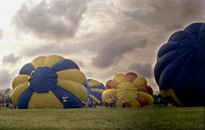 RiverFest Balloon Launch Wichita, KS 1976  <br /> <br /> Shot with an old 1950s Exacta SLR manual 35mm camera.