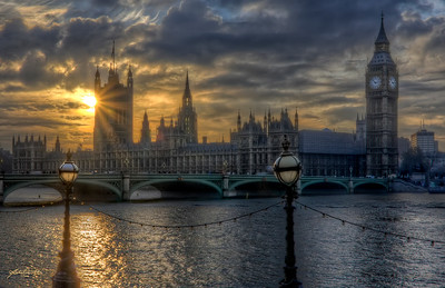 """""""On the Thames"""" Big Ben and Parliament, London, England"""