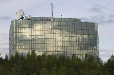 This is the Frontier Building, reflecting the morning clouds...located in midtown Anchorage. This building is the home of most state government offices in Anchorage.