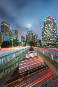 Los Angeles cityscape light trails