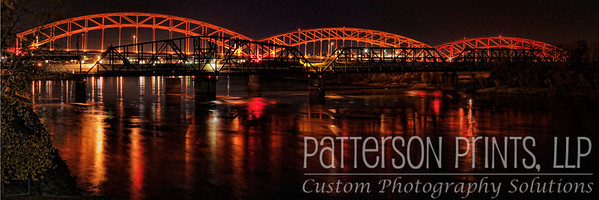 The Broadway Bridge at night north of downtown Kansas City and spanning the Missouri River.
