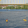 Kayakers Paddling Upriver along the Allegheny near the 16th St. Bridge, Pittsburgh
