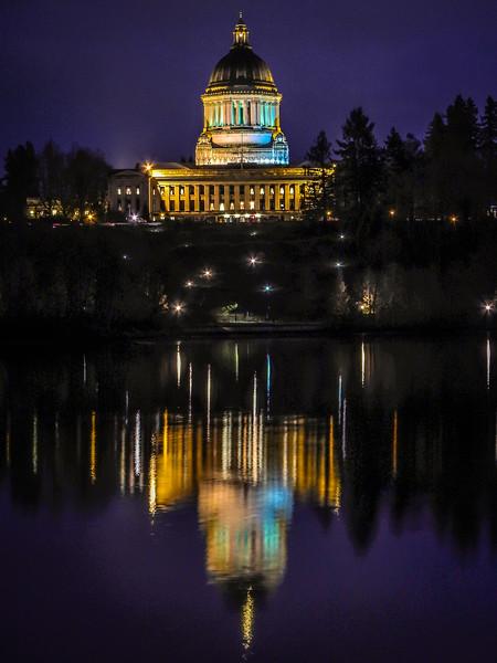 State Capitol at Capitol Lake
