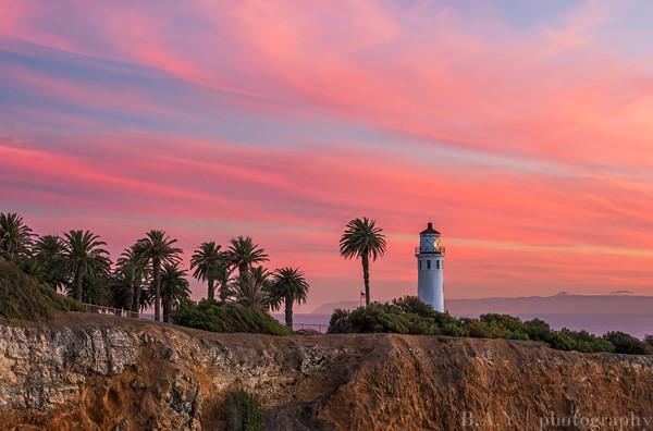 Point Vicente lighthouse sunset burn, Palos Verdes