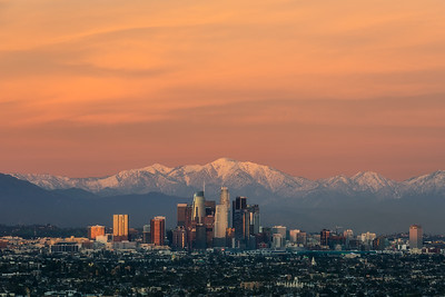Orange sunset over Los Angeles and Baldy
