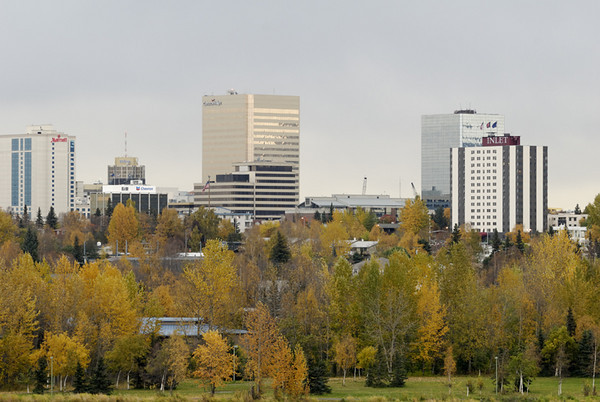 This photograph of the Anchorage skyline was taken from an overlook in mid-town in late September.