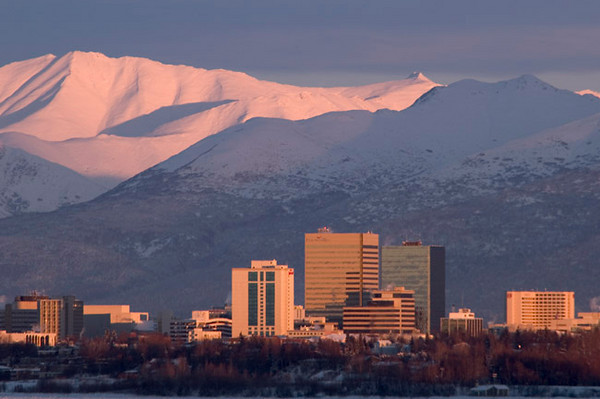 Anchorage, Alaska in the early morning hours - December 2005.