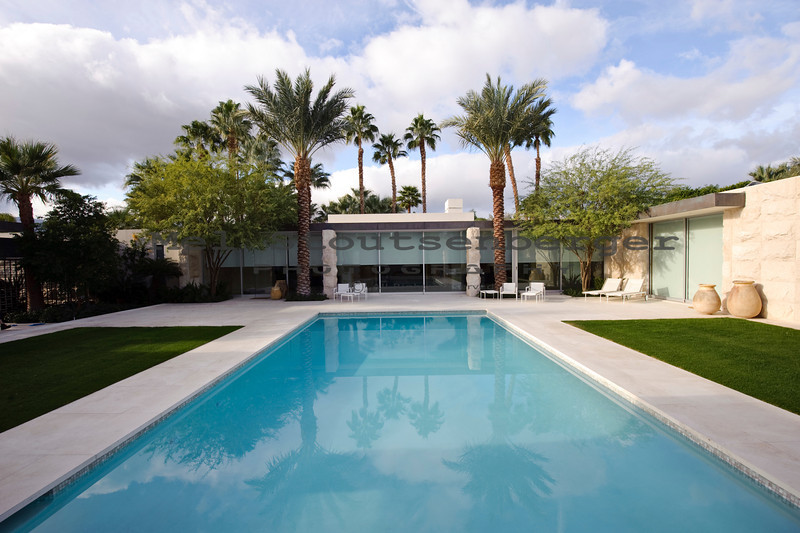 Newly completed custom post-modern desert home in Indian Wells, California.