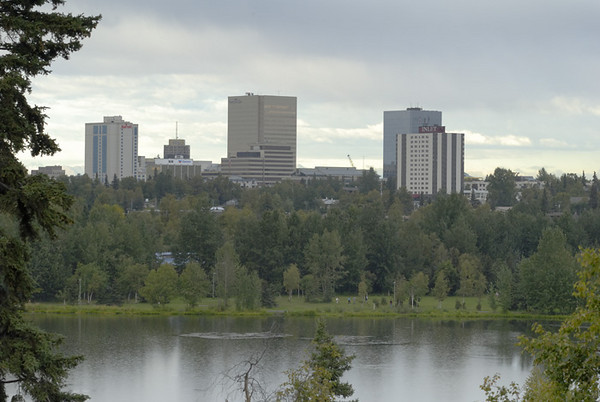 This skyline of Anchorage was photographed in the rain, which is quite common in early September. This was taken from a small overlook in mid-town.