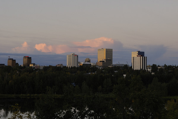 Downtown Anchorage at sunset - this photo was taken from an overlook in mid-town in mid-September 2006.