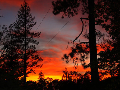 thru a live wire. Sunset in Placerville