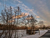 D353-2017 .<br /> Looking to the northeast (downstream, across the river) on a day when the sun set about as far to the south as it does all year.<br /> <br /> Taken on a day when sunset arrived a few minutes after 5 p.m.  (Check the photo info to see the actual time of this photo, relative to sunset.<br /> <br /> Geddes Dam, Ann Arbor, Michigan<br /> Taken December 19, 2017