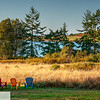 Colorful lawn chairs looking over lake - Port Townsend, Washington