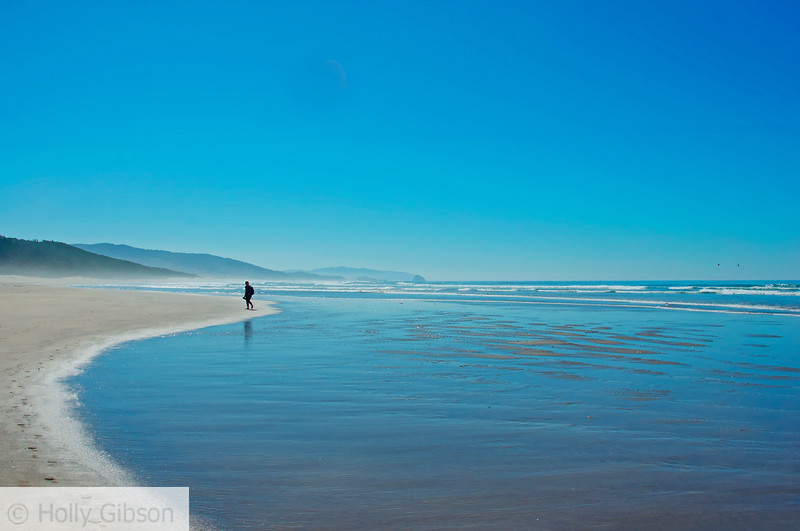 Walker on the beach - Cape Lookout State Park