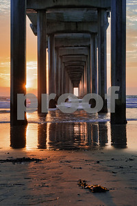 Sunburst Sunset at Scripps Pier, La Jolla, California