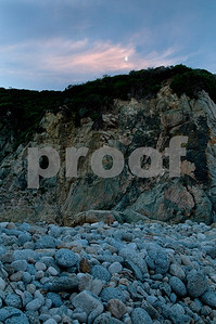 Moonset over rocky beach, Big Sur Coast, California