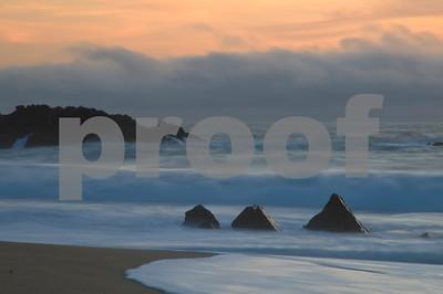 3 pointed rocks, sunset Big Sur Coast, California