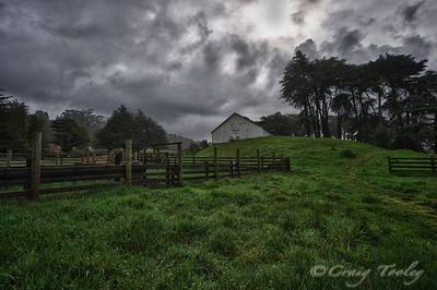 The White barn on the Sea Ranch just before snow.