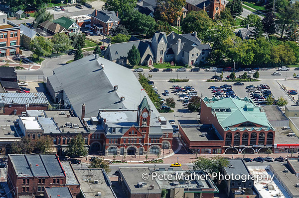 Aerial of the Collingwood Town Hall and the Ed Bush Memorial Areana.