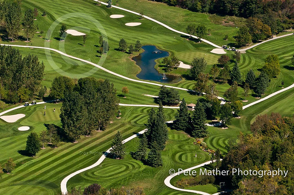 An aerial shot of Blue Mountain Golf Club located near Collingwood Ontario.