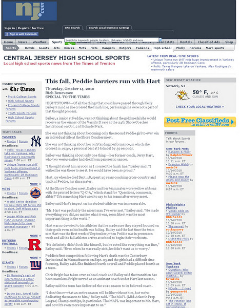 Article from Trenyon Times  Oct 14 2010. Kellys accomplishment in winning a bigger race ,several schools and setting a new Peddie shool  time record., but more importantly  her feelings of losing her coach who was instrumental in her accomlishment and even getting into Peddie.