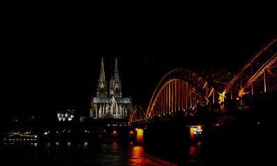 Cologne Cathedral and Hohenzollern Bridge at night