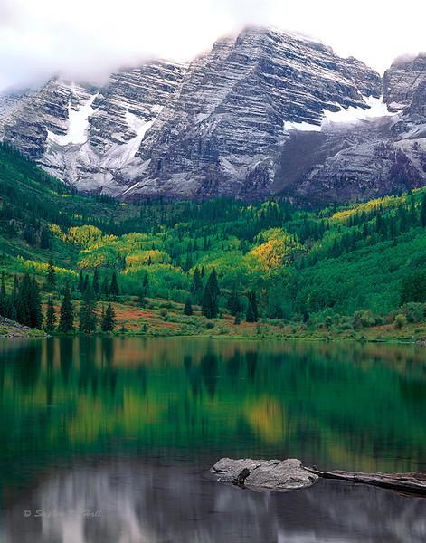 Maroon Bells and lake, fall