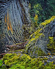 Basalt columns, lichen and moss