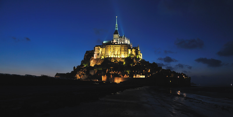 Mont Saint Michel at Night - Normandy, France