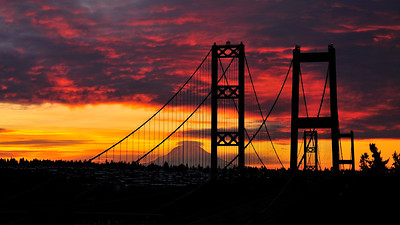Tacoma Narrows Bridge and Mount Rainier - Tacoma, Washington