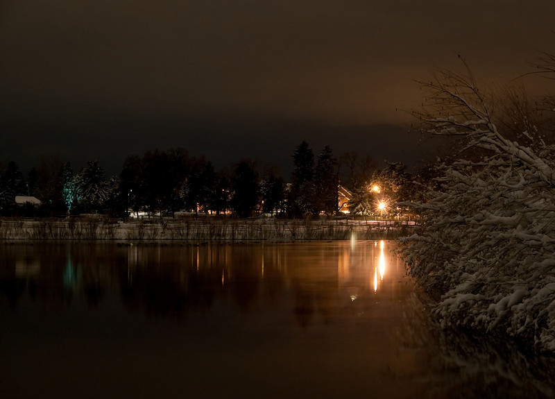A late night look across Ketring Lake after a Spring snow.