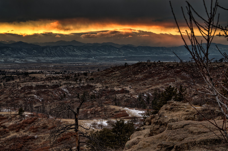 The sun setting on the Daniels Park area near Denver, Colorado.