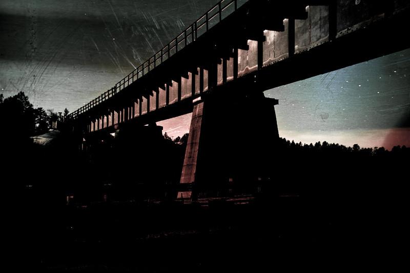 Under the bridge in the moonlight, Larkspur, Colorado.