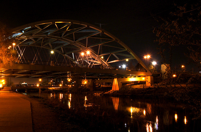 Denver bridge at night