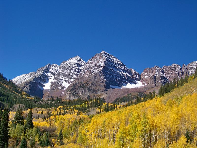 Colorado's famous Maroon Bells in the autumn sunlight.