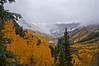 Looking back toward Maroon Lake from the Crater Lake trail on a stormy autumn day; Colorado Elk Range.