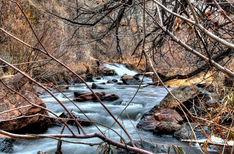 Winding stream in Red Rocks State Park, Colorado